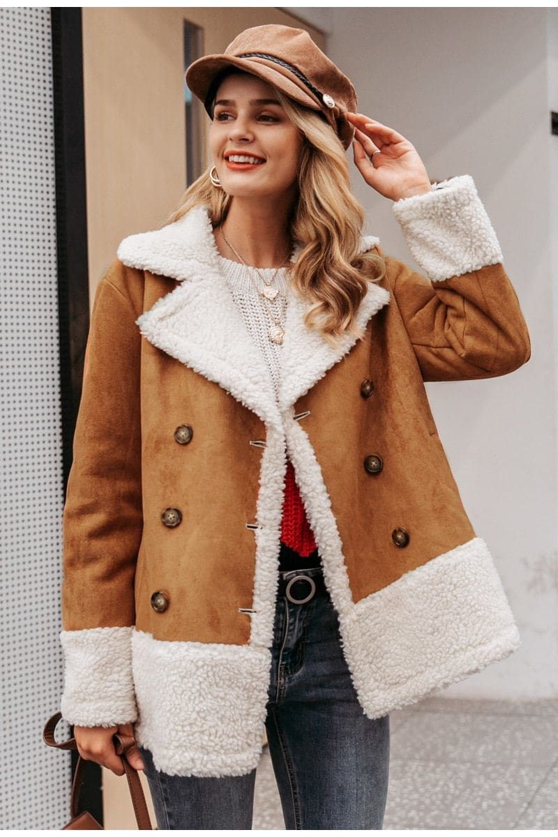 Vintage Suede Patchwork Fur Buttons Pockets Coat