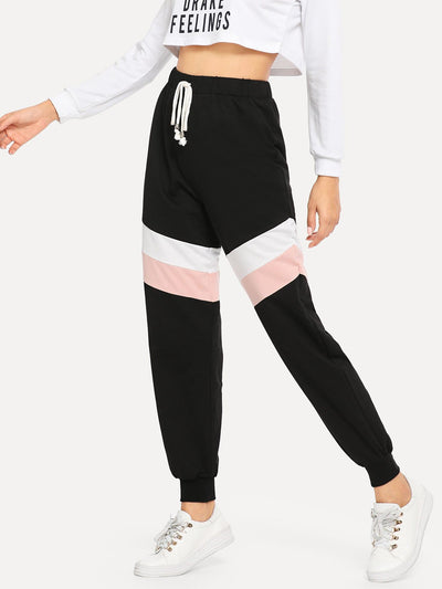 Waist Drawstring Color Block Pants - Fittness Leggings