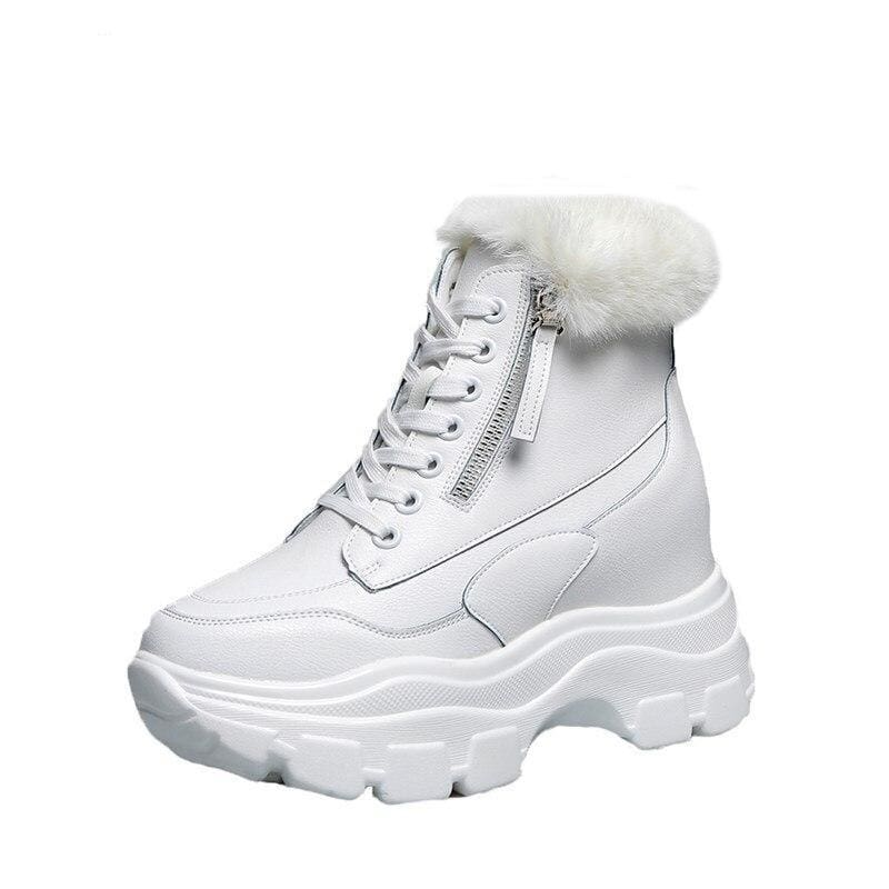 Warm Boots Leather Platform Sneakers With Fur - White / 7.5 - Womens Sneakers
