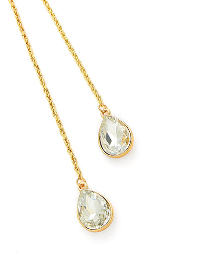 Water Drop Rhinestone Pendant Wrap Chain Necklace - Necklaces