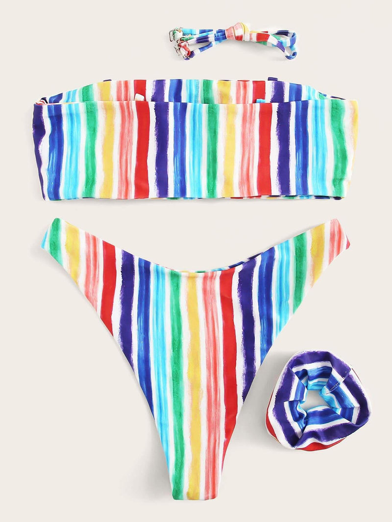 Watercolor Striped Bandeau Bikini Set With Hair Tie - S - Bikini