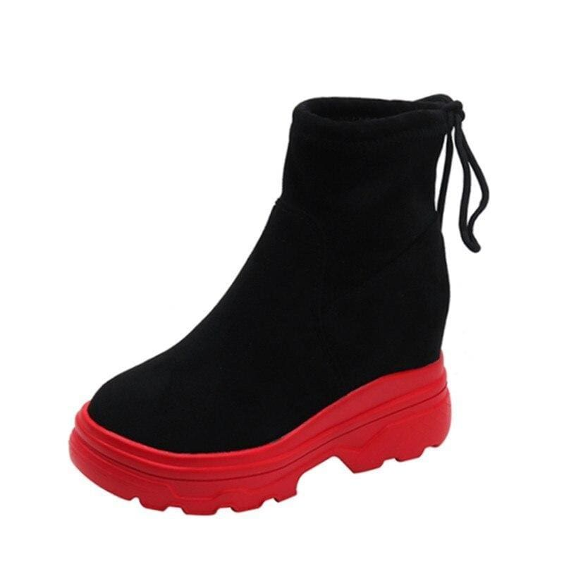 Waterproof Ankle Platform Boots - Red / 6 - Womens Sneakers
