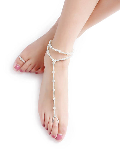 White Beaded Foot Body Jewelry - Body Jewelry