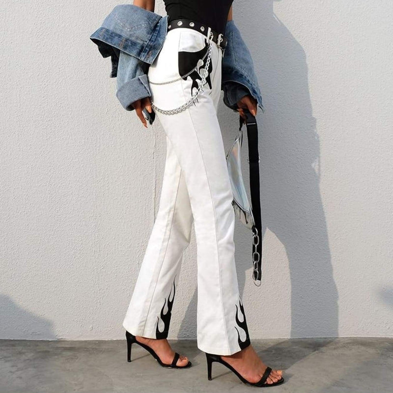 White Cotton Flaming Fire Print Flare Trousers - white / L - Jeans & Pants