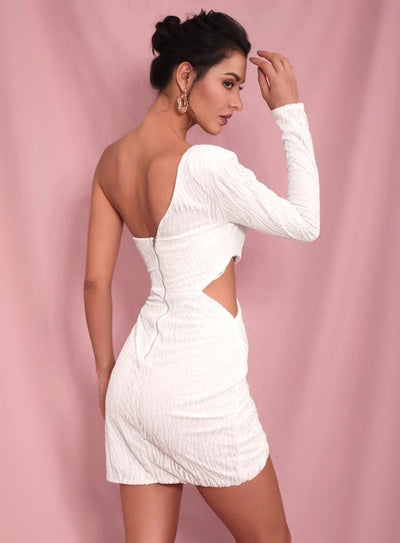 White Cut Out Single Sleeve Glitter Bodycon Party Mini Dress - Dresses