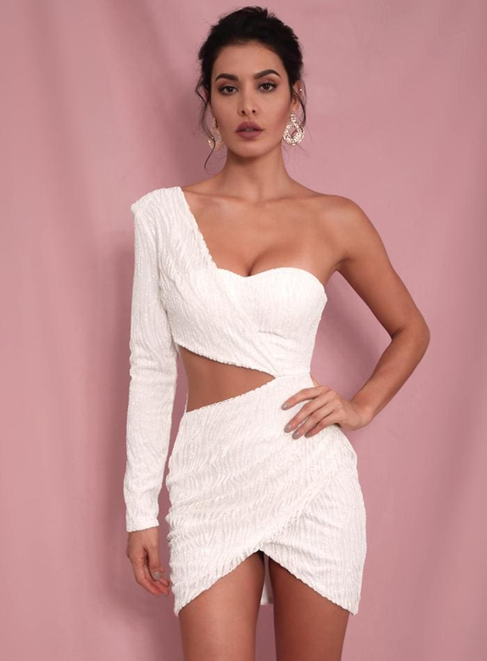 White Cut Out Single Sleeve Glitter Bodycon Party Mini Dress - WHITE / L - Dresses