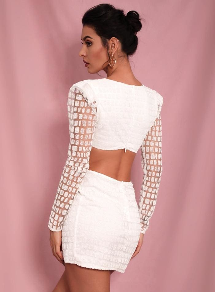White Deep V Neck Open Back Cross Glitter Party Mini Dress - WHITE / XS - Dresses