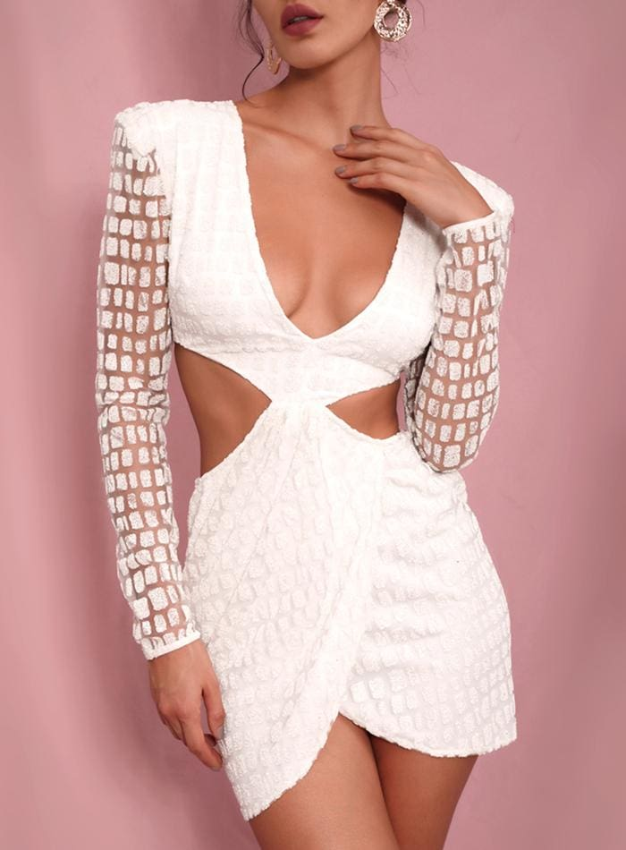 White Deep V Neck Open Back Cross Glitter Party Mini Dress