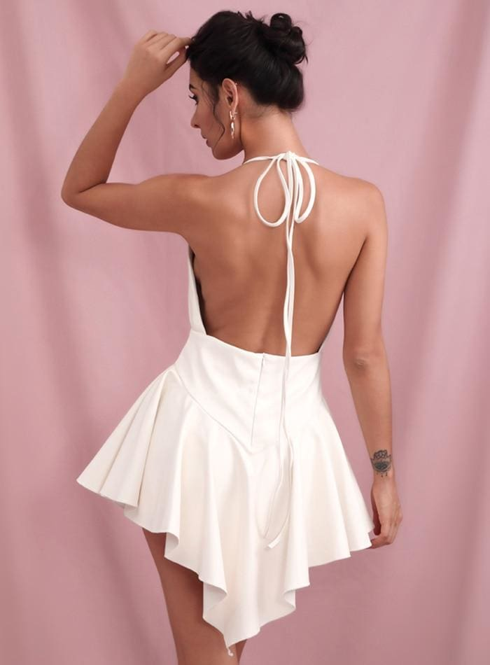 White Deep V-neck Open Back Ruffled PU Mini Party Dress - WHITE / S - Dresses