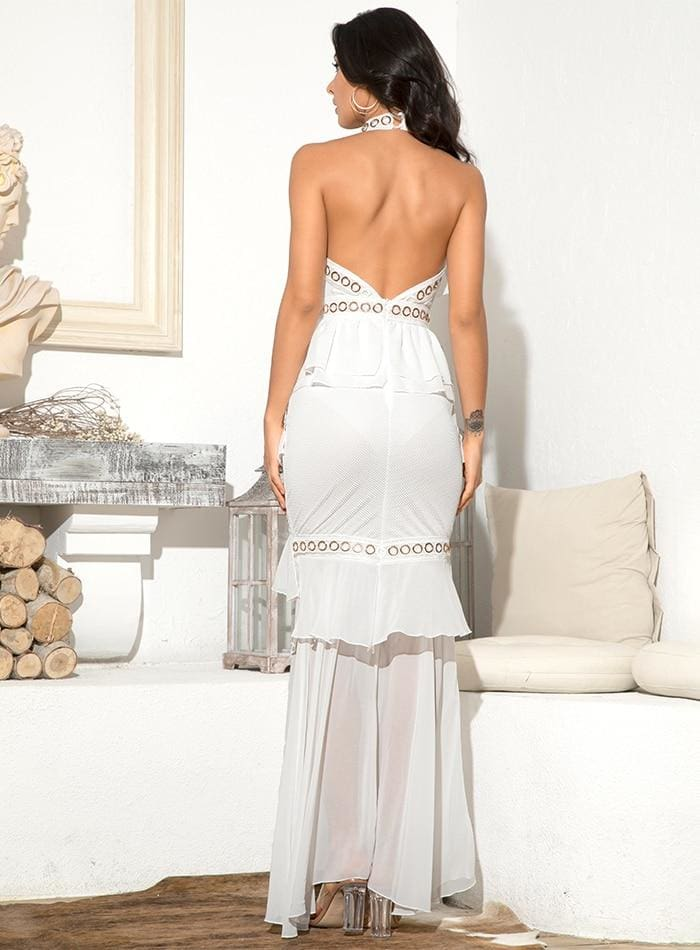 White Open Back Metal Lace And Chiffon Ruffled Prom Maxi Dress