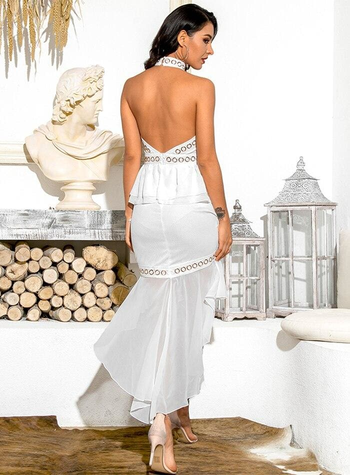 White Open Back Metal Lace And Chiffon Ruffled Prom Midi Dress