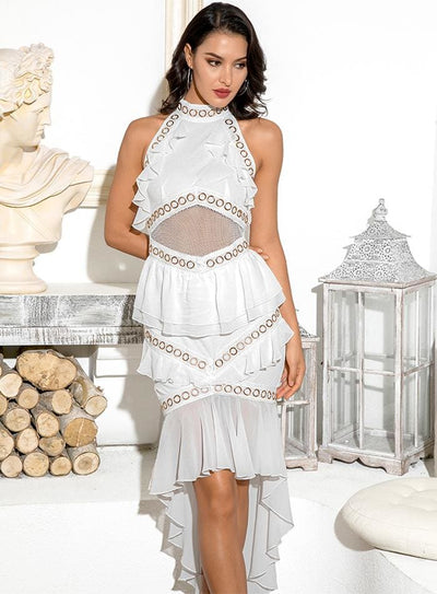White Open Back Metal Lace And Chiffon Ruffled Prom Midi Dress - Dresses