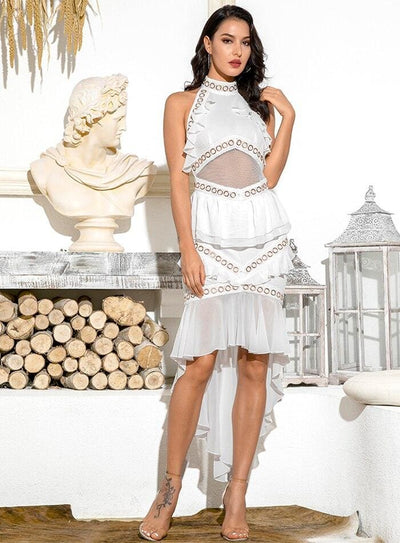 White Open Back Metal Lace And Chiffon Ruffled Prom Midi Dress - WHITE / XS - Dresses
