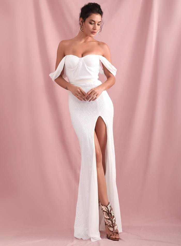 White Tube Top Drop Shoulder Sequins Split Prom Maxi Dress