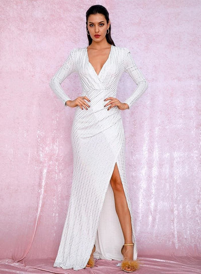 White V-Neck Cut Out Puff Sleeves Sequins Prom Maxi Dress - Dresses