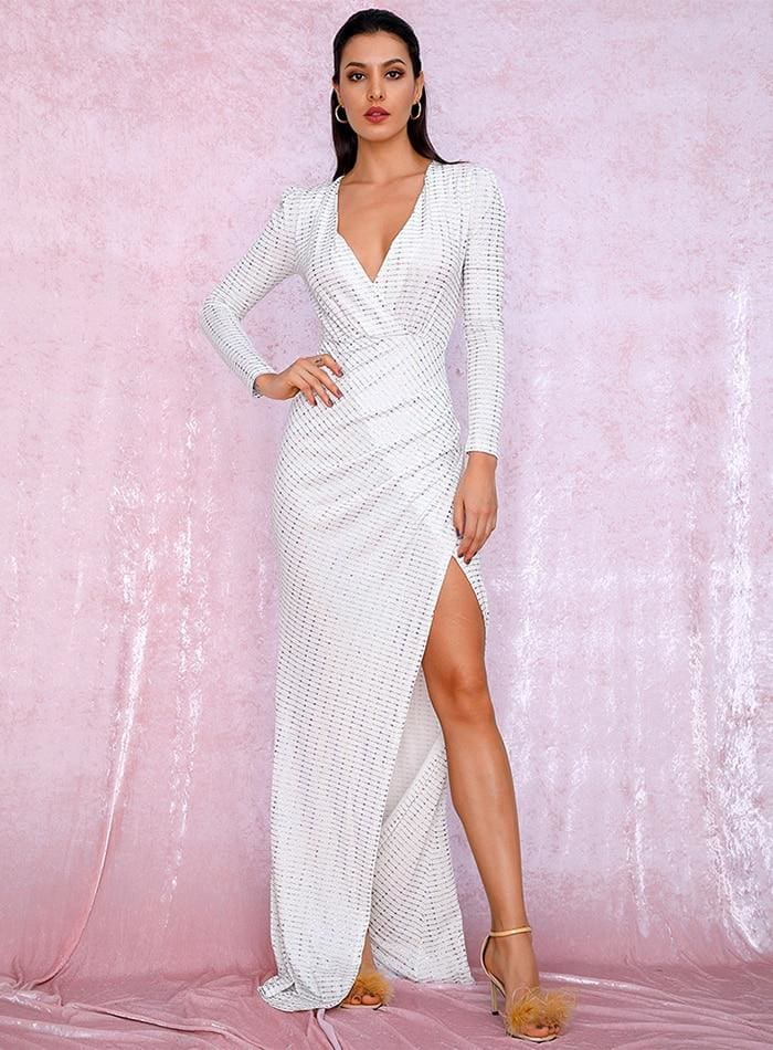 White V-Neck Cut Out Puff Sleeves Sequins Prom Maxi Dress