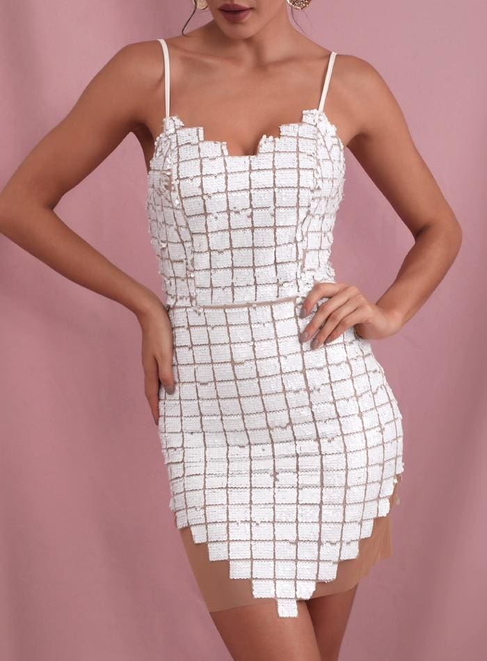 White V-Neck Plaid Sequin Mesh Bodycon Party Mini Dress - WHITE / M - Dresses