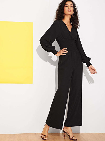 Wide Elastic Waist V-neck Jumpsuit - Womens Jumpsuits