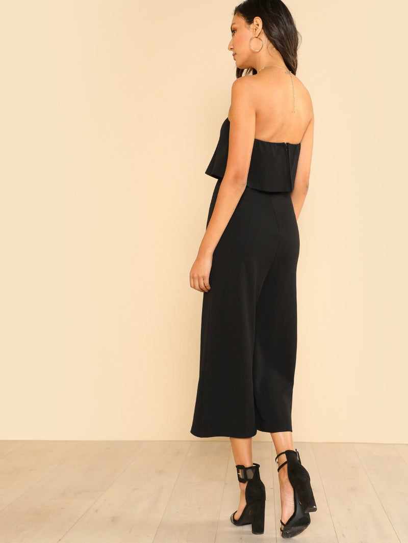 Wide Leg Flounce Tube Jumpsuit - Womens Jumpsuits