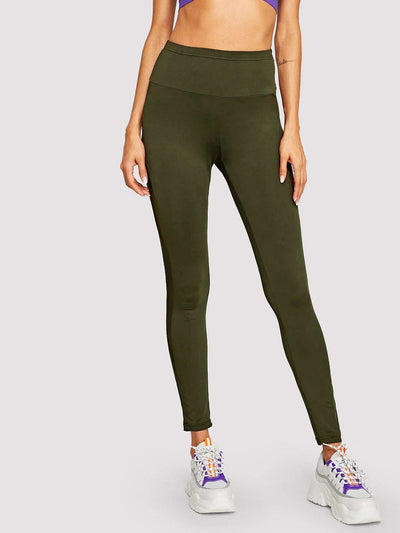 Wide Waist Mesh Insert Leggings - Fittness Leggings