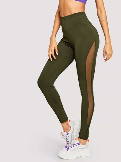 Wide Waist Mesh Insert Leggings - S / Army green - Fittness Leggings