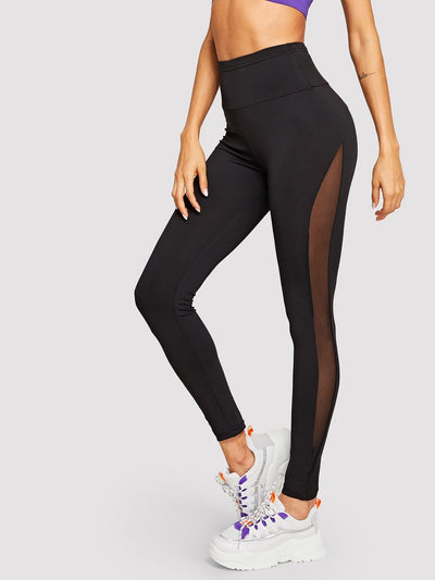 Wide Waist Mesh Insert Leggings - S / Black - Fittness Leggings