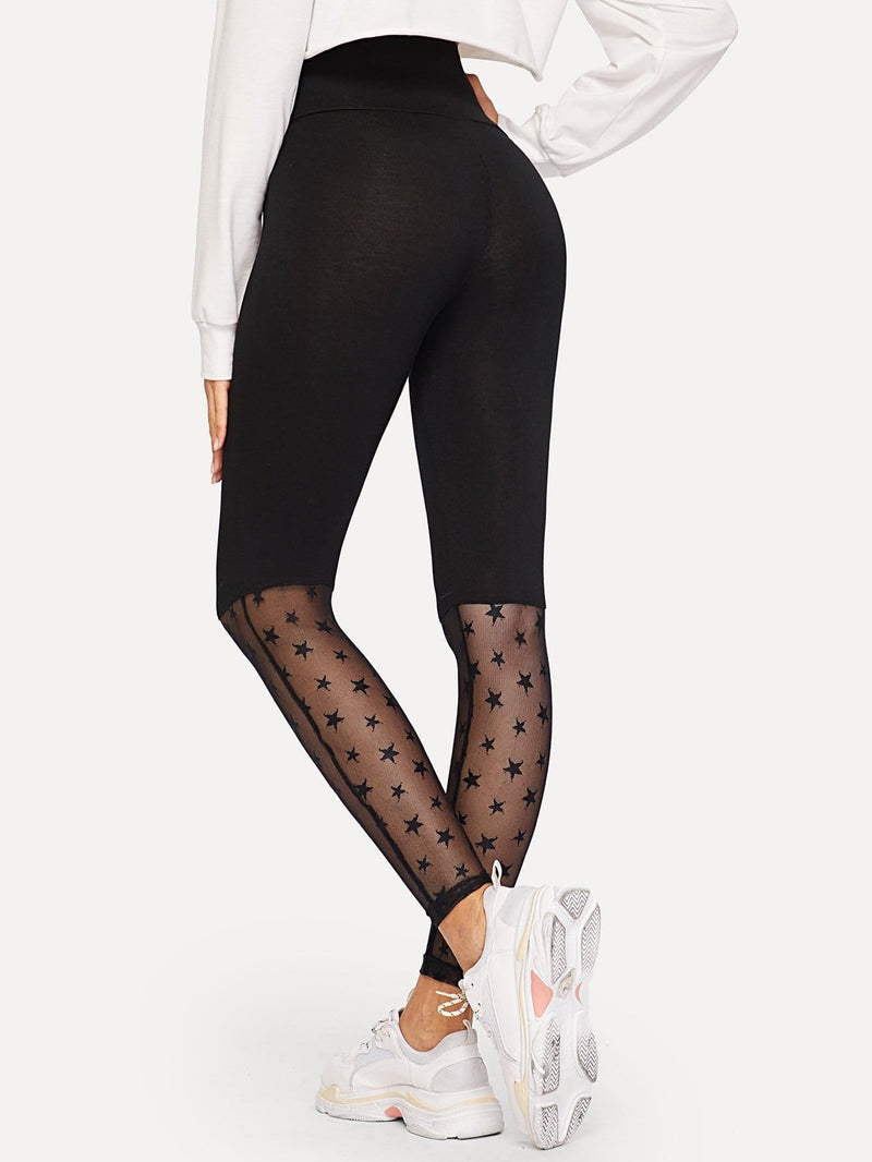 Wide Waist Mesh Insert Pentagram Print Leggings - Fittness Leggings