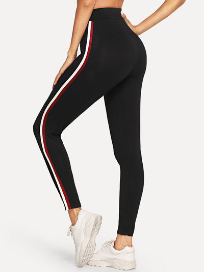 Wide Waist Striped Side Leggings - Fittness Leggings
