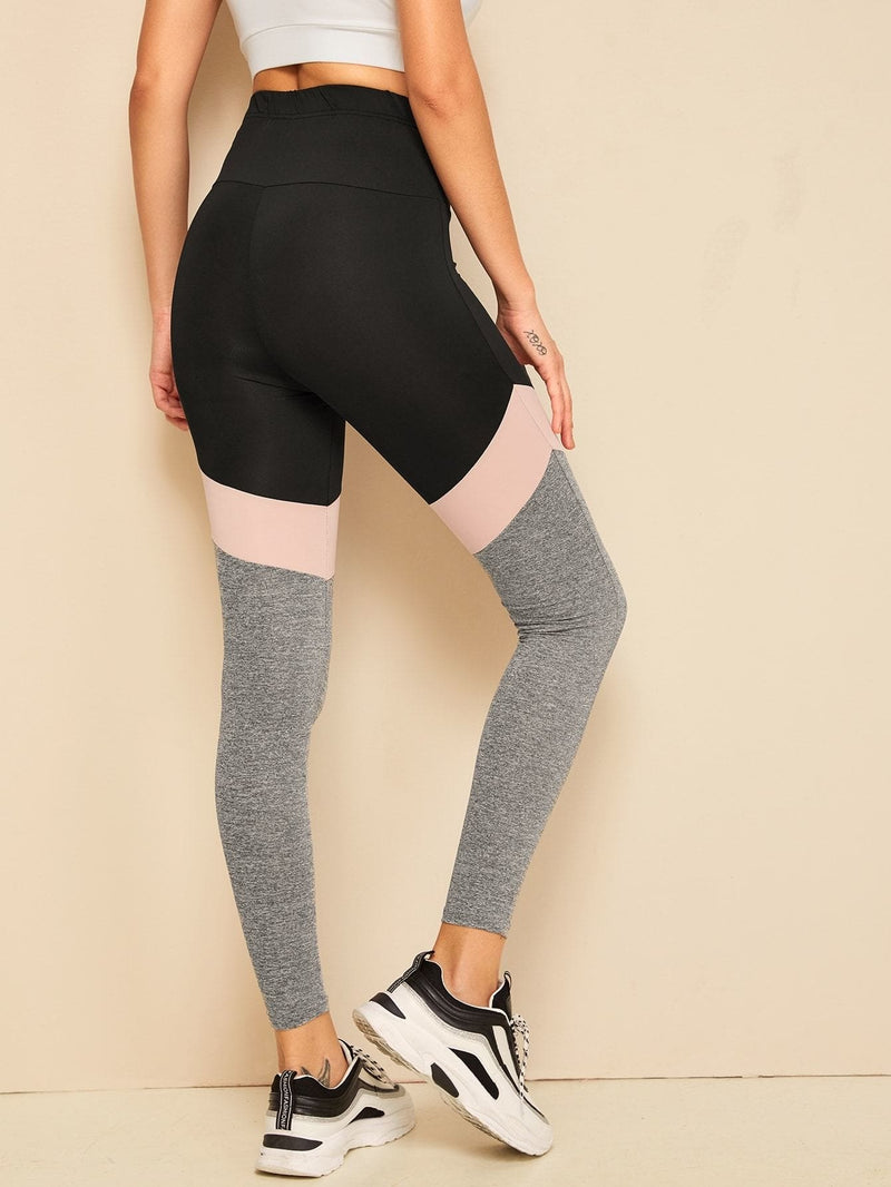 Wide Waistband Color-block Leggings - S - Fittness Leggings