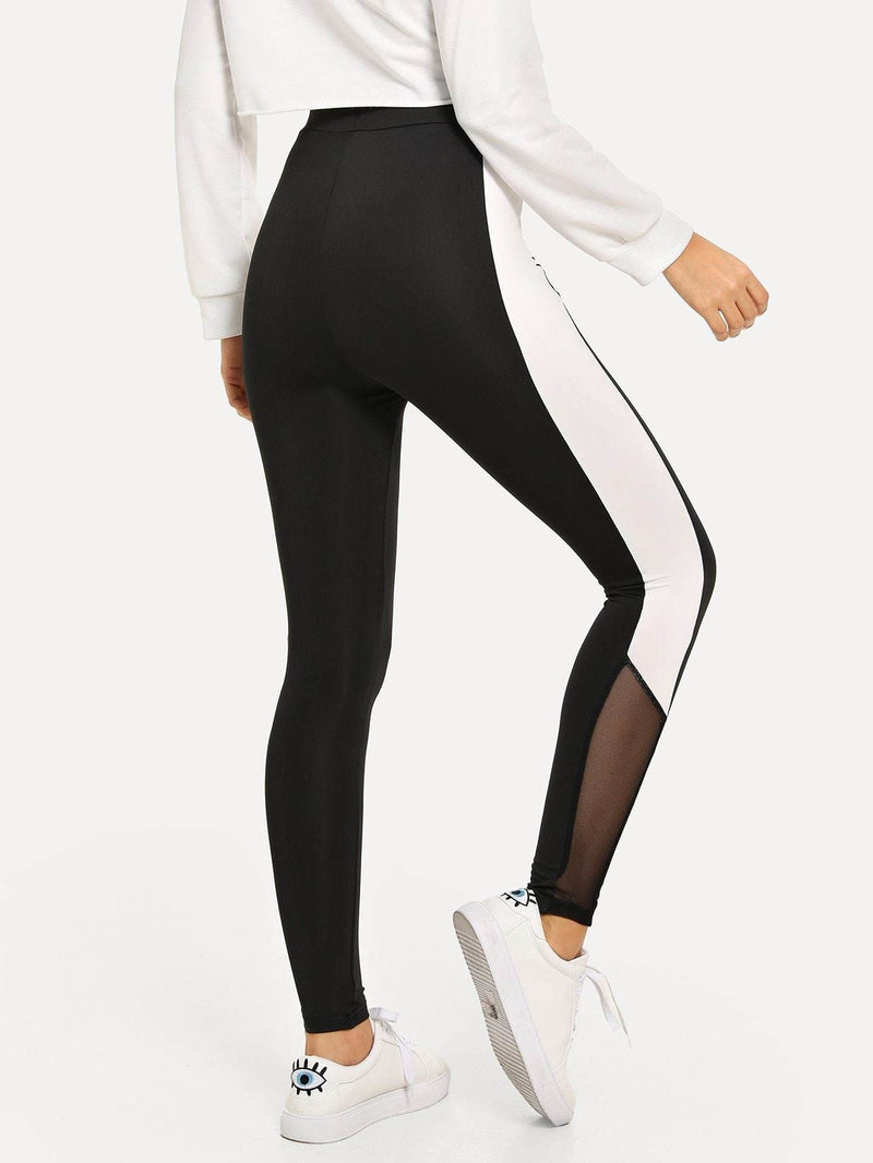 Wide Waistband Colorblock Leggings - S / Black - Fittness Leggings