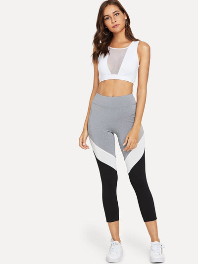 Wide Waistband Cut And Sew Leggings - Fittness Leggings