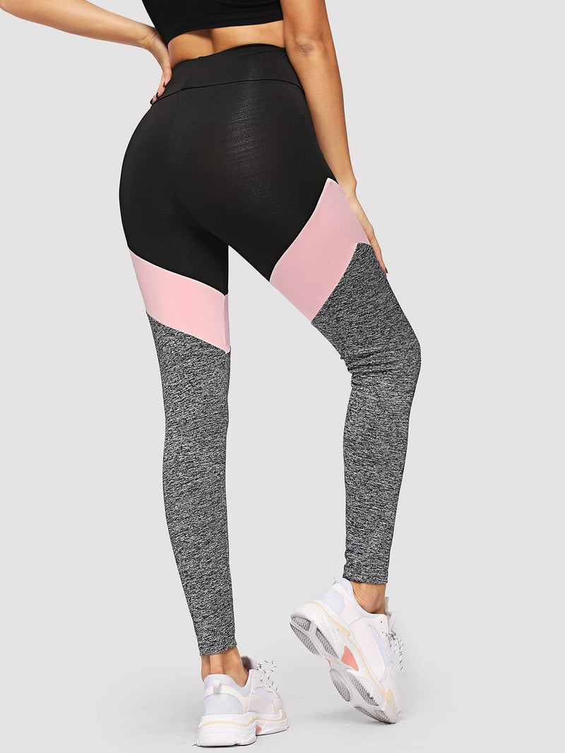 Wide Waistband Marled Knit Colorblock Leggings - Fittness Leggings