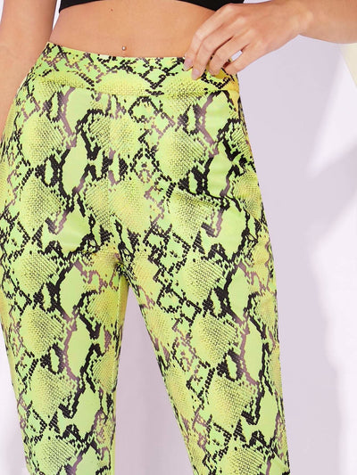Wide Waistband Snakeskin Print Leggings - Leggings