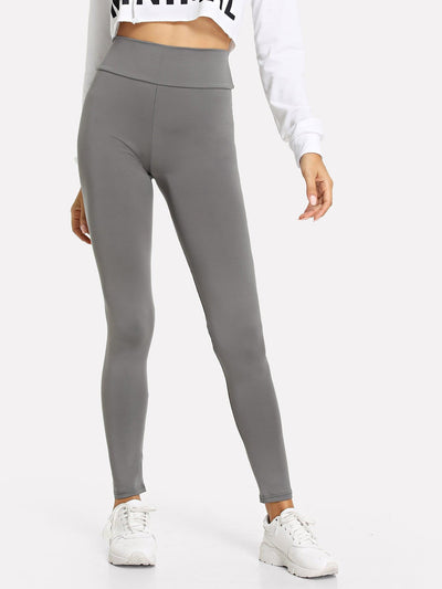Wide Waistband Solid Leggings - Fittness Leggings