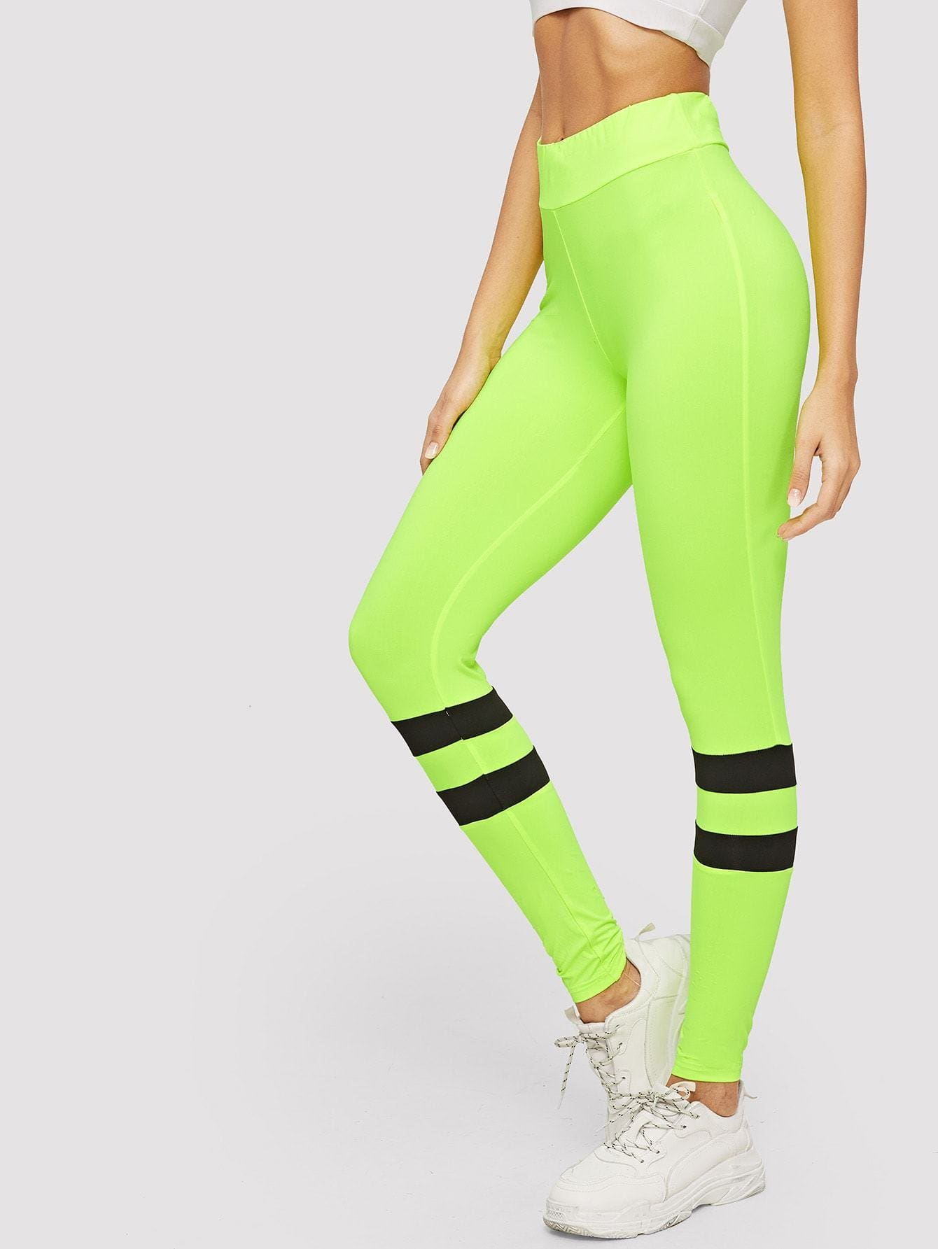 Wide Waistband Striped Neon Leggings - Fittness Leggings