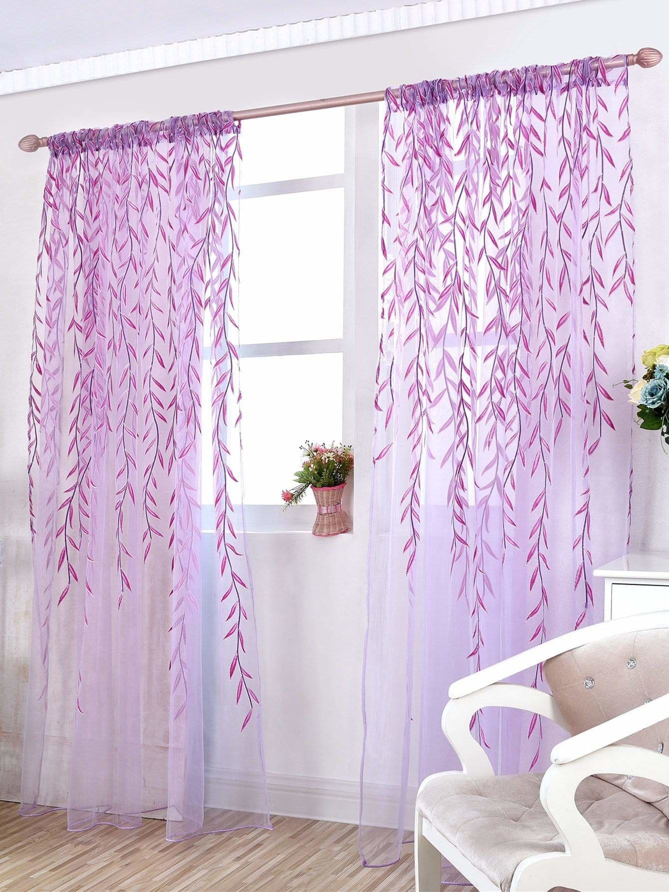 Willow Leaves Sheer Mesh Curtain 1pc - Curtains