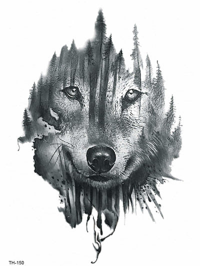 Wolf Face Tattoo Sticker - Beauty Tools