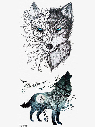 Wolf Pattern Tattoo Sticker - Beauty Tools