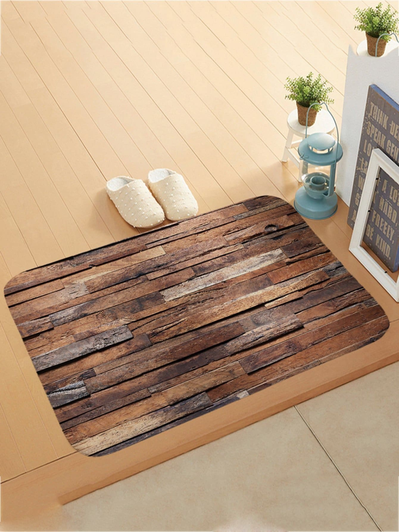 Wood Pattern Doormat - One-Size / Brown - Rugs & Mats