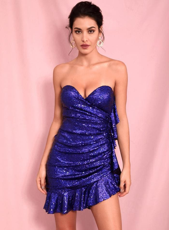 Wrapped V-Neck Ruffled Blue Sequin Party Mini Dress - BLUE / XS - Dresses