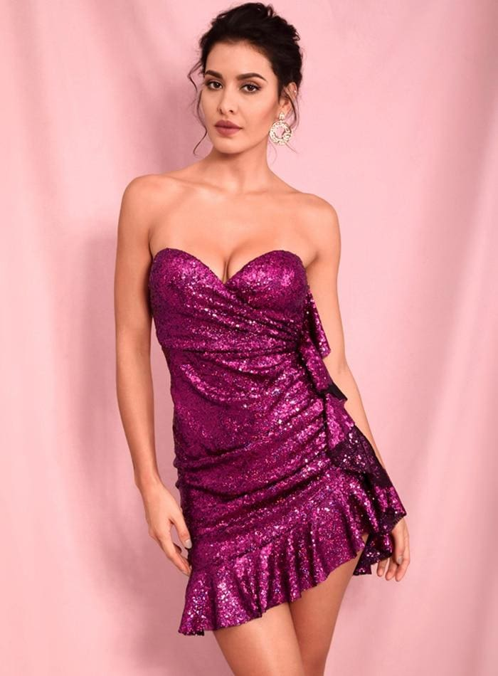 Wrapped V-Neck Ruffled Rose Sequin Party Mini Dress