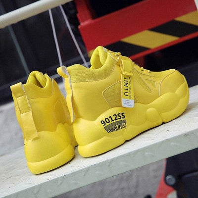 Yellow Breathable Mesh Platform Sneakers - Yellow / 6 - Womens Sneakers