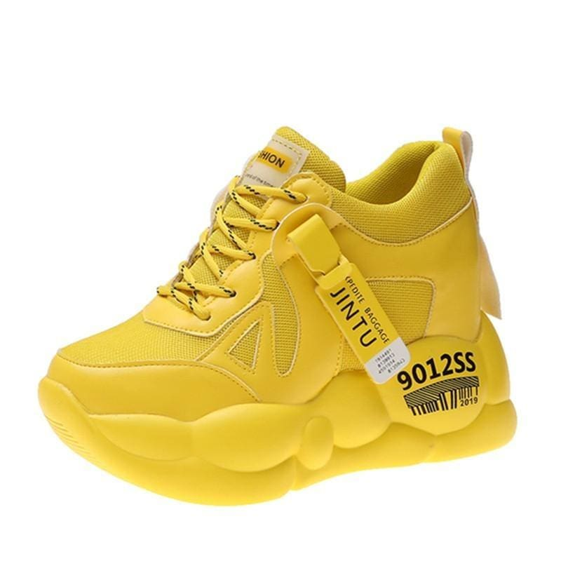 Yellow Breathable Mesh Platform Sneakers
