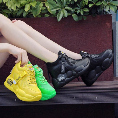 Yellow Breathable Mesh Platform Sneakers - Womens Sneakers