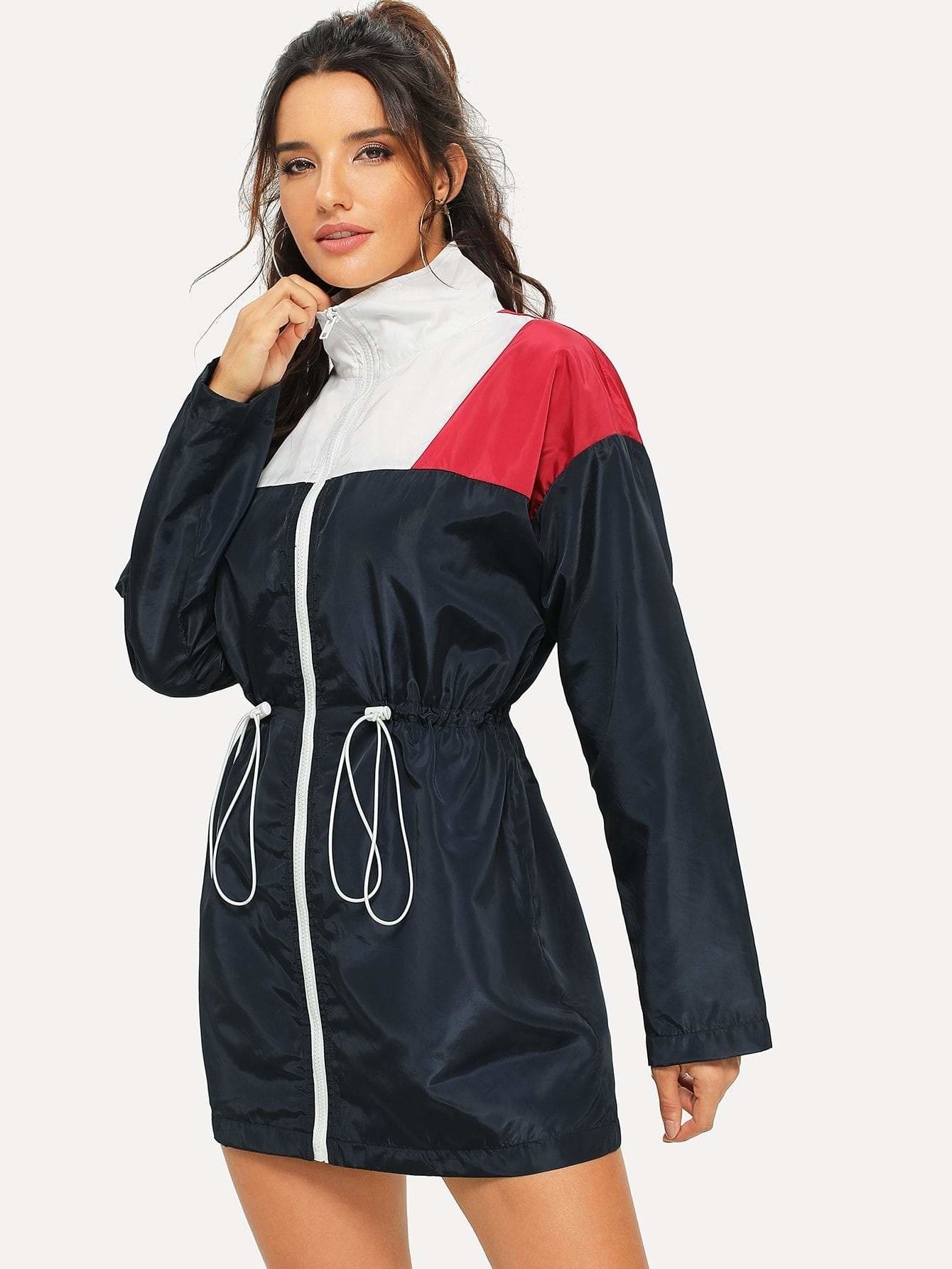 Zip Front Color Block Drawstring Jacket - Gym Tops