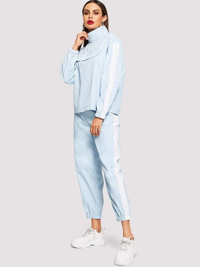 Zip Front Ruffle Coat & Pants Co-Ord - Sportsuit