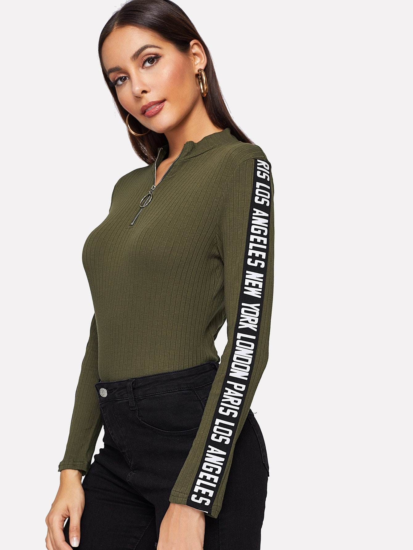 Zip Half Placket Letter Ribbed Knit Tee - Gym Tops