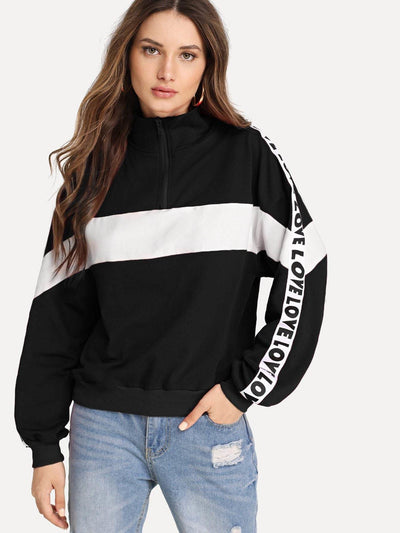 Zip Half Placket Letter Tape Side Sweatshirt - Gym Tops