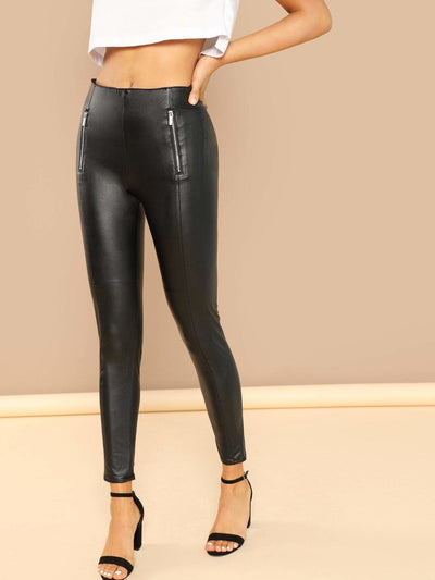 Zipper Detail Faux Leather Leggings - Leggings