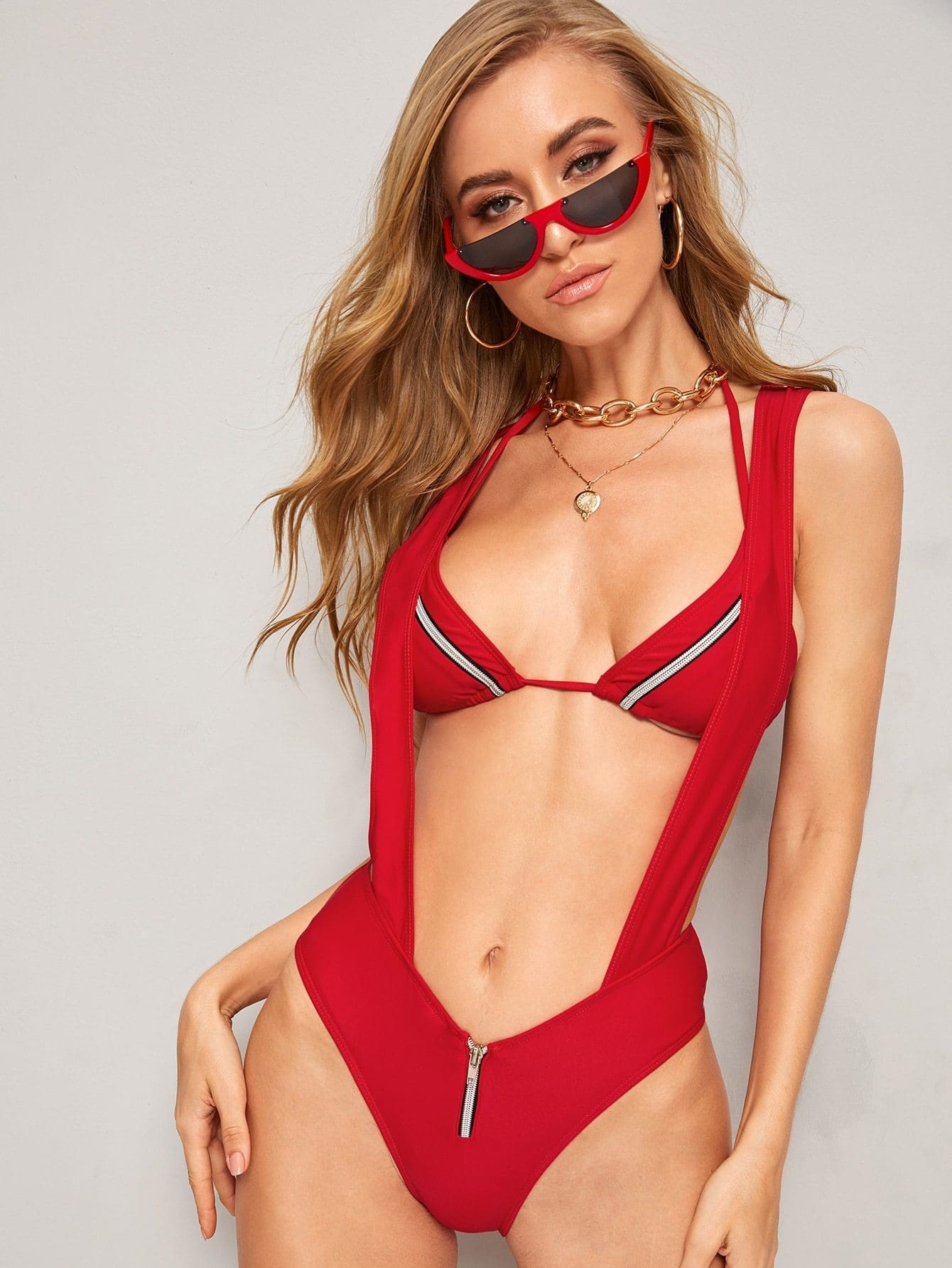Zipper Triangle Halter Top With Suspender Two Piece Swim - S - One Piece Swimwear